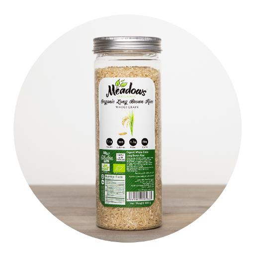 Meadows Organic Whole Grain Long Brown Rice - 500g